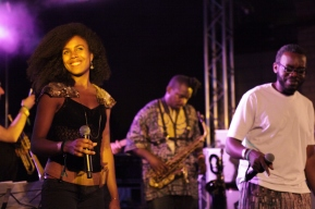 Binisa with Breis and Jason Yard at Back2Black festival, 2012. Photo by Tiff Wear